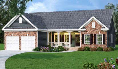 3 Bed, 2 Bath, 1566 Square Foot House Plan - #009-00016