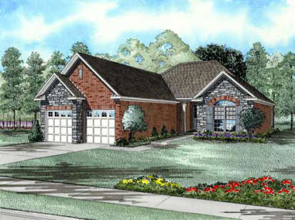 2 Bed, 2 Bath, 1387 Square Foot House Plan - #110-00162