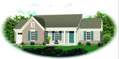 2 Bed, 2 Bath, 1008 Square Foot House Plan - #053-00459