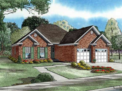 2 Bed, 2 Bath, 1287 Square Foot House Plan - #110-00174