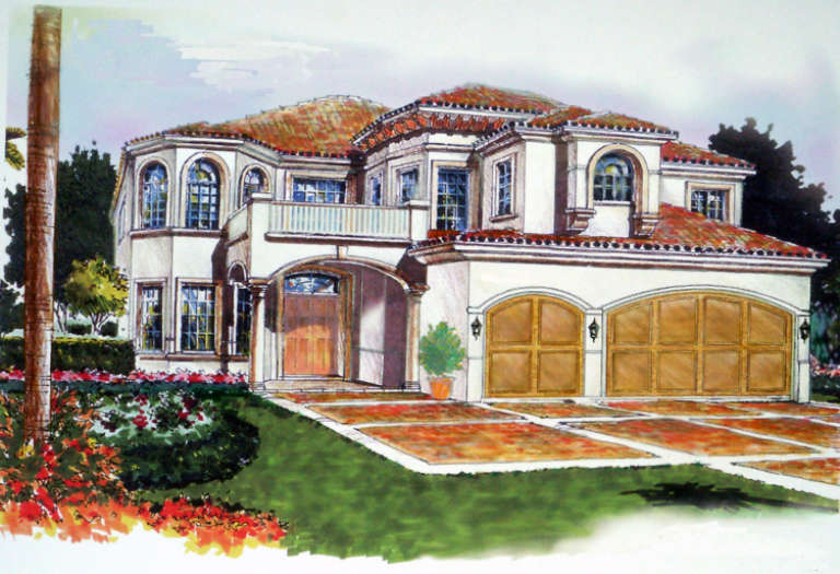 Florida House Plan #168-00055 Elevation Photo