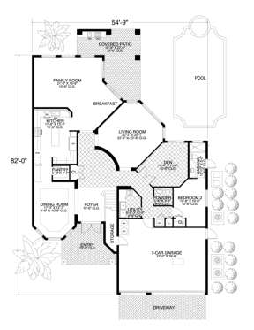 Floorplan 1 for House Plan #168-00055