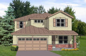 Narrow Lot House Plan #340-00024 Elevation Photo