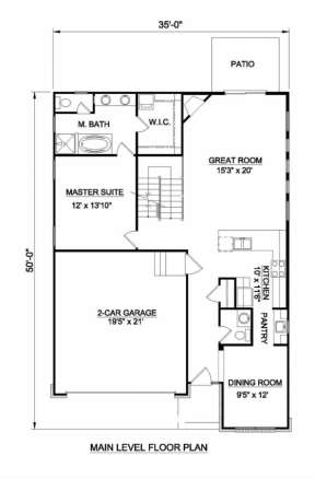 Floorplan 1 for House Plan #340-00025