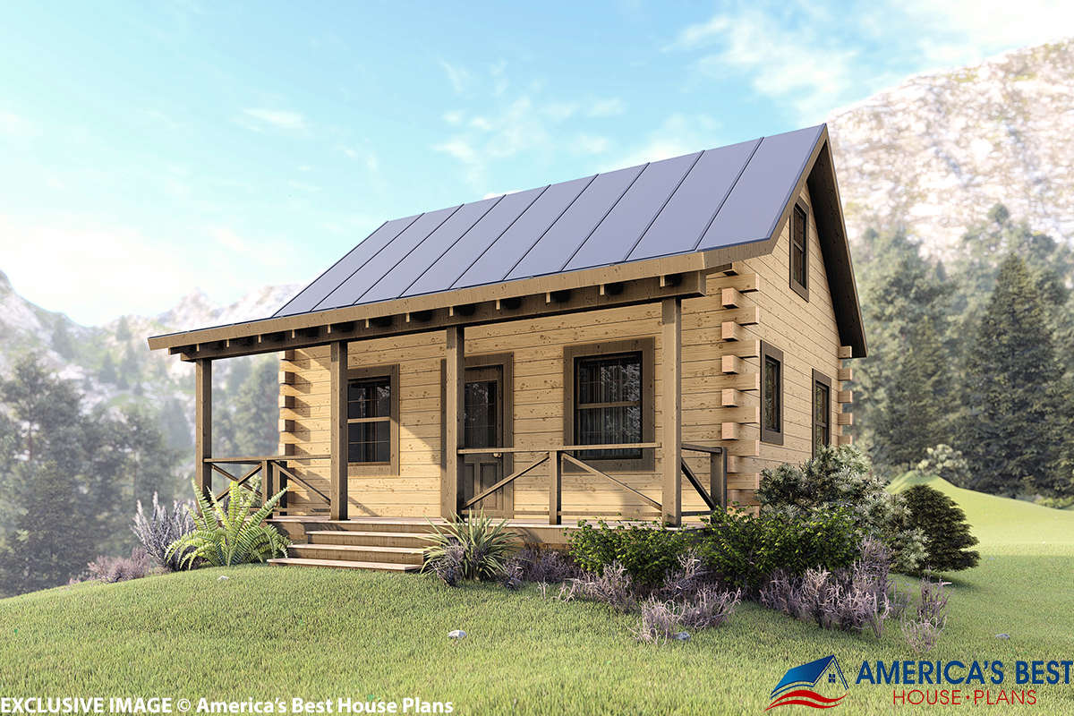 House Plan 154-00001 - Log Plan: 744 Square Feet, 2 Bedrooms, 1 Bathroom