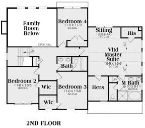 Second Floor for House Plan #009-00021