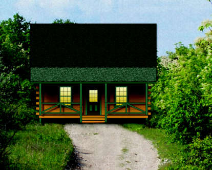 2 Bed, 1 Bath, 917 Square Foot House Plan - #154-00007