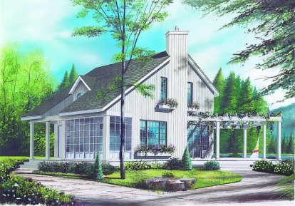 2 Bed, 1 Bath, 1056 Square Foot House Plan - #034-00064