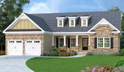 3 Bed, 2 Bath, 1566 Square Foot House Plan - #009-00025