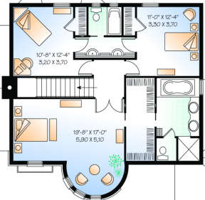 Second Floor for House Plan #034-00076