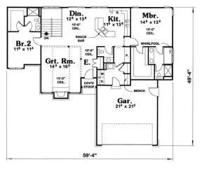 Floorplan 1 for House Plan #402-00545