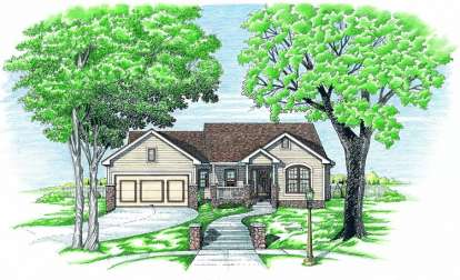 1 Bed, 2 Bath, 1379 Square Foot House Plan - #402-00552