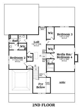 Second Floor for House Plan #009-00031