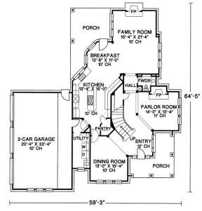 Floorplan 1 for House Plan #402-00943