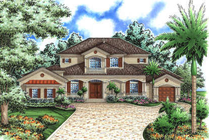 5 Bed, 4 Bath, 4280 Square Foot House Plan - #575-00084
