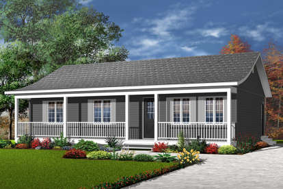 3 Bed, 1 Bath, 1127 Square Foot House Plan - #034-00111