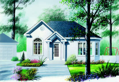 2 Bed, 1 Bath, 929 Square Foot House Plan - #034-00112