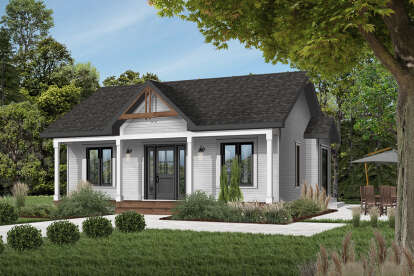 2 Bed, 1 Bath, 910 Square Foot House Plan - #034-00113