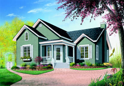 2 Bed, 1 Bath, 1006 Square Foot House Plan - #034-00114