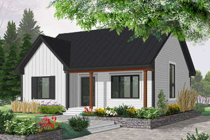 2 Bed, 1 Bath, 1113 Square Foot House Plan - #034-00115
