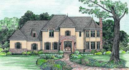 4 Bed, 3 Bath, 3479 Square Foot House Plan - #402-01043