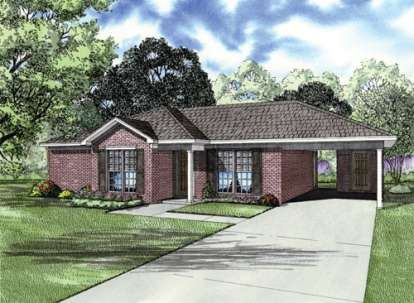 2 Bed, 2 Bath, 1008 Square Foot House Plan - #110-00646
