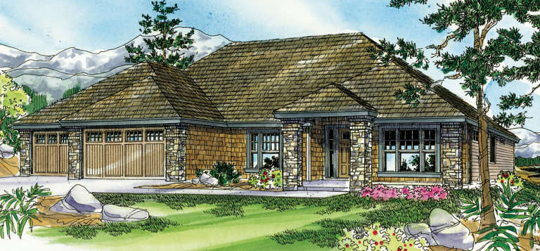 Ranch House Plan #035-00433 Elevation Photo