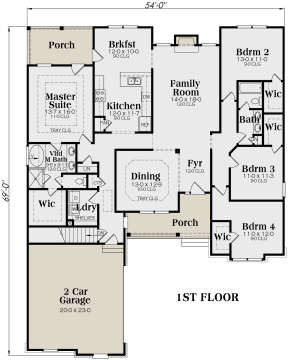 Main Floor for House Plan #009-00041