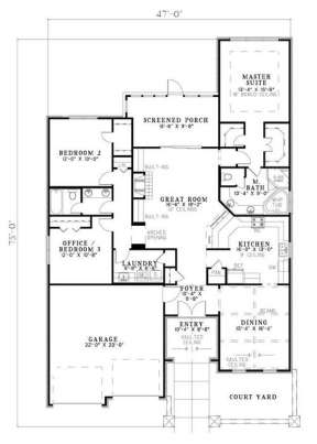 Floorplan 1 for House Plan #110-00767