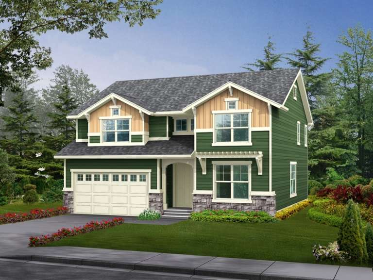 Narrow Lot House Plan #341-00067 Elevation Photo