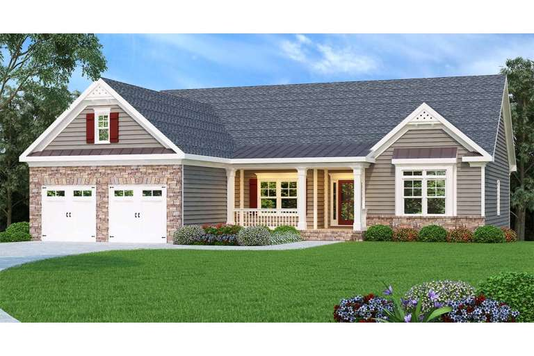 Traditional House Plan #009-00045 Elevation Photo