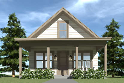 1 Bed, 1 Bath, 860 Square Foot House Plan - #028-00065
