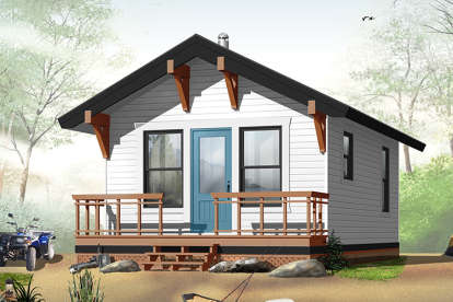 1 Bed, 1 Bath, 384 Square Foot House Plan - #034-00175
