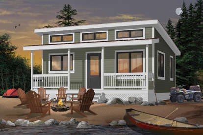 2 Bed, 1 Bath, 480 Square Foot House Plan #034-00177