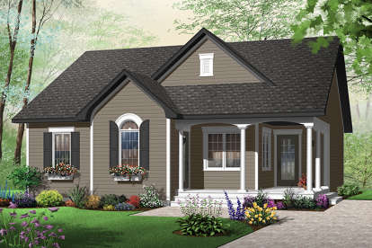 2 Bed, 1 Bath, 1226 Square Foot House Plan - #034-00187