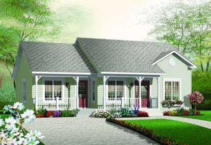 2 Bed, 1 Bath, 1185 Square Foot House Plan - #034-00188
