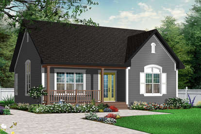 2 Bed, 1 Bath, 1113 Square Foot House Plan - #034-00190