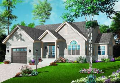 2 Bed, 1 Bath, 1276 Square Foot House Plan - #034-00209