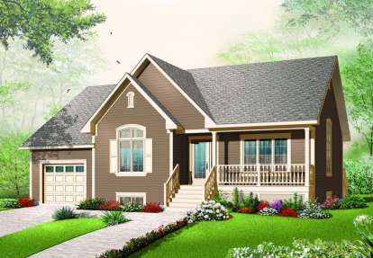 2 Bed, 1 Bath, 1318 Square Foot House Plan - #034-00210