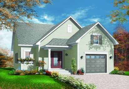 2 Bed, 1 Bath, 1250 Square Foot House Plan - #034-00212