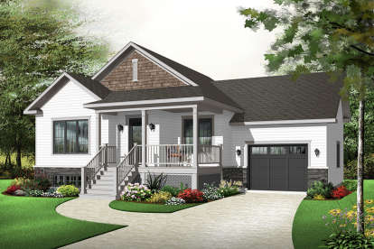 2 Bed, 1 Bath, 1023 Square Foot House Plan - #034-00213