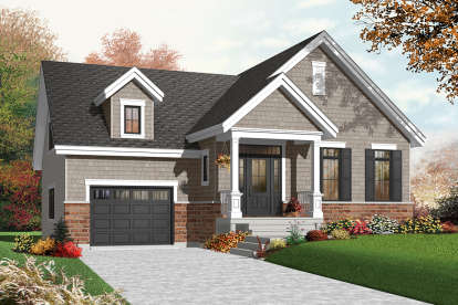 2 Bed, 1 Bath, 1126 Square Foot House Plan - #034-00219