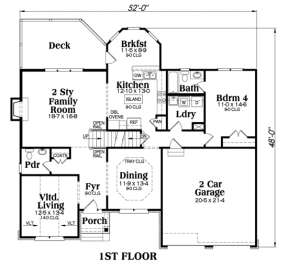 Main Floor for House Plan #009-00052