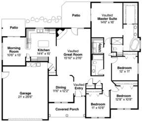 Floorplan 1 for House Plan #035-00046