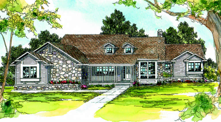Country House Plan #035-00065 Elevation Photo