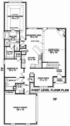 Floorplan 1 for House Plan #053-00663