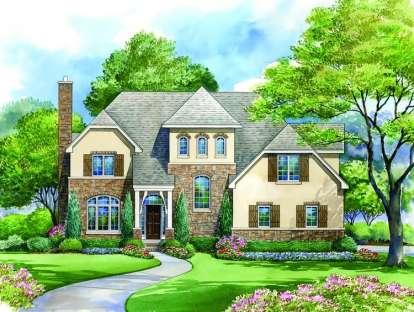 4 Bed, 3 Bath, 3454 Square Foot House Plan - #402-01081