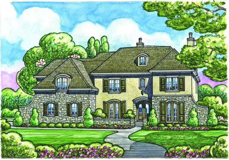 French Country House Plan #402-01086 Elevation Photo