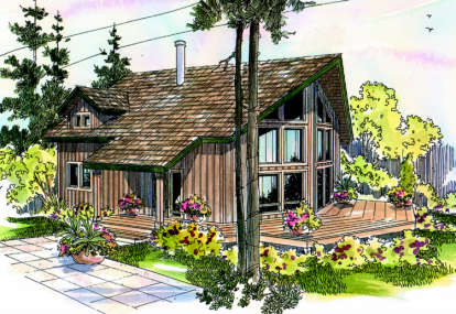 1 Bed, 2 Bath, 1211 Square Foot House Plan - #035-00125