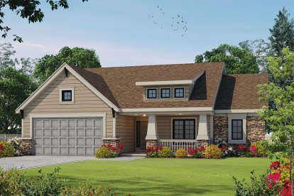 2 Bed, 2 Bath, 1692 Square Foot House Plan - #402-01381